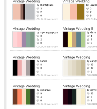 More Vintage Wedding Color Schemes