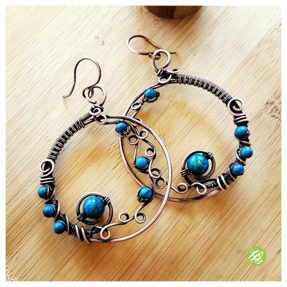 Copper wire hoops, big azurite earring hoop, wire wrapped hoops, copper wire hoop earrings, wire gemstone hoops, azurite jewelry handmade