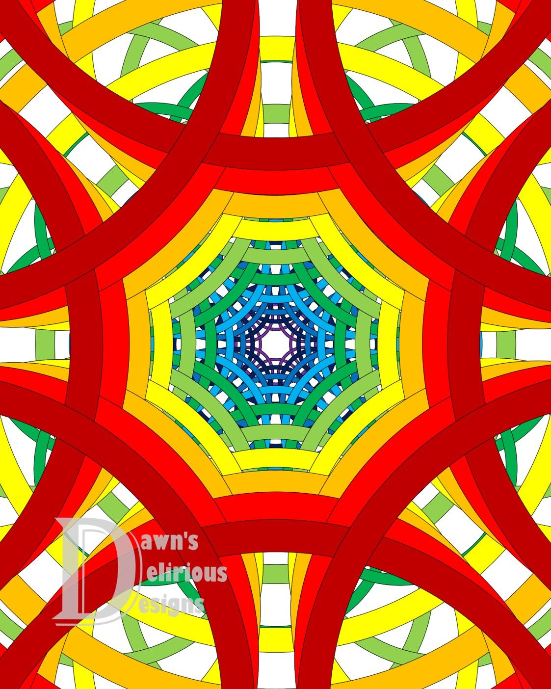 Circles To Oblivion In Reverse Coloring Design Shown In Rainbow Spectrum Colors The Black And White Geometric Pattern Design Geometric Pattern Pattern Design