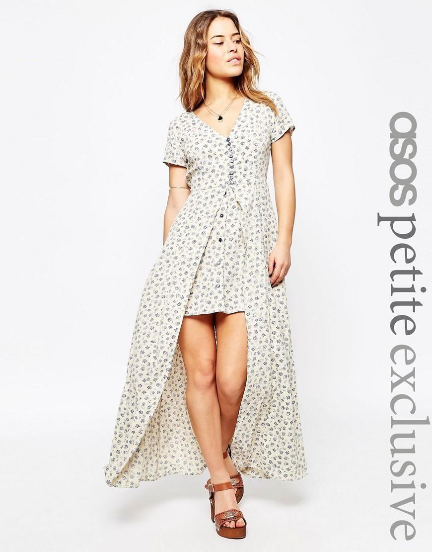 ASOS Petite | ASOS PETITE Maxi Dress in Blue Ditsy Print with Button Through Detail at ASOS