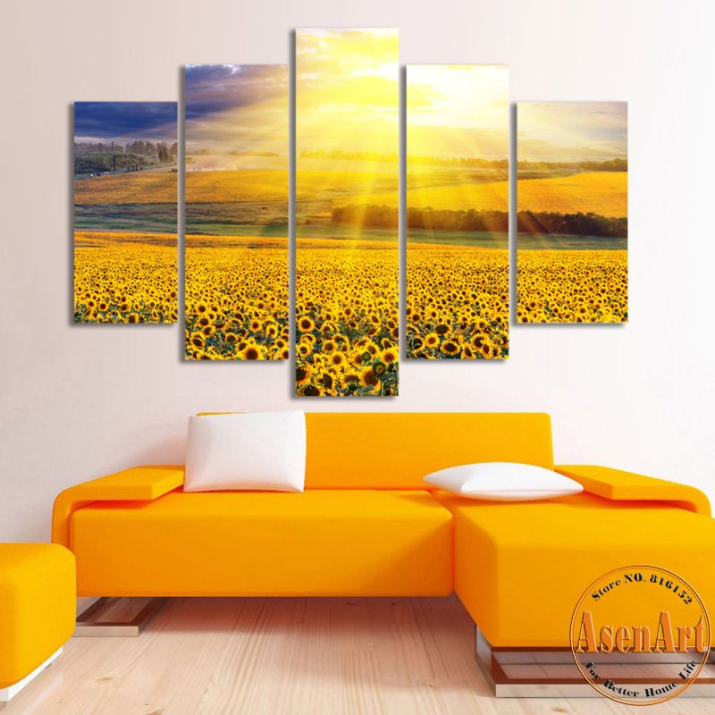 Free Shipping] Buy Best 5 Panel Canvas Art Gold Sky Sunflower ...