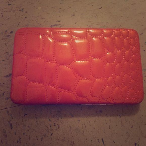 Orange faux-alligator skin wallet/clutch. Orange faux-alligator skin wallet/clutch. Kristine Bags Wallets