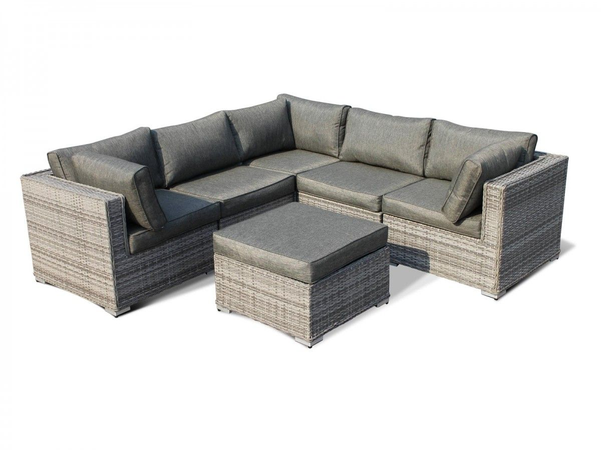 florida 6 piece rattan garden corner set in grey garden. Black Bedroom Furniture Sets. Home Design Ideas