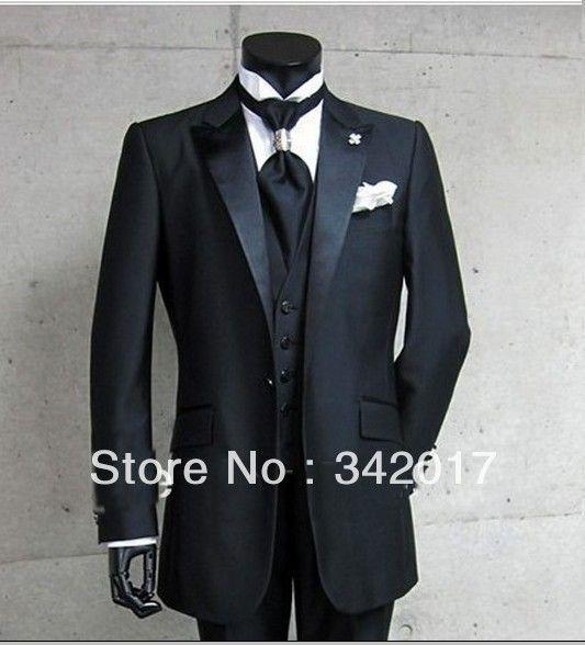 2014 New Arrival Black Groom Tuxedos Best Man Peak Satin Lapel ...
