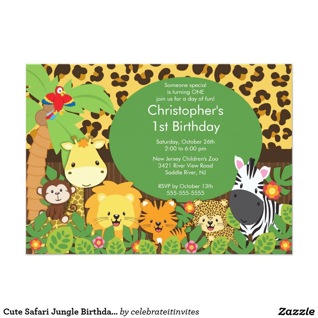 Cute safari jungle birthday party invitations party invitations cute safari jungle birthday party invitations 5 x 7 invitation card stopboris Images