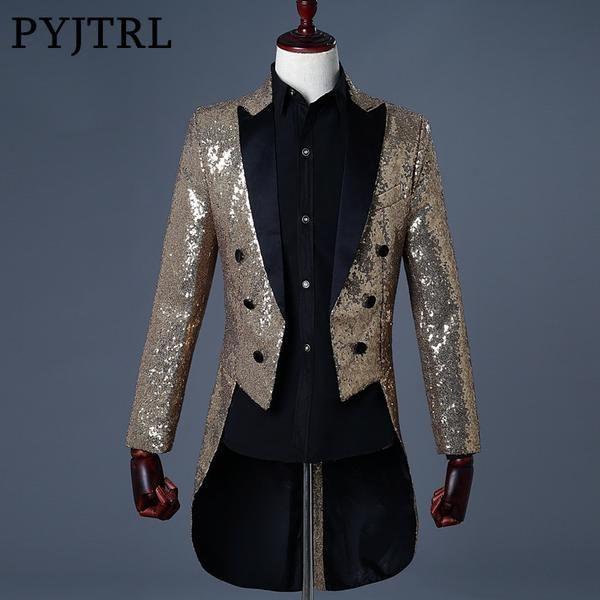 PYJTRL 2018 Men Gold Silver Red Blue Black Sequin Slim Fit Tailcoat Stage  Singer Prom Dresses Costume Wedding Groom Suit Jacket  fashion 4326864d6353