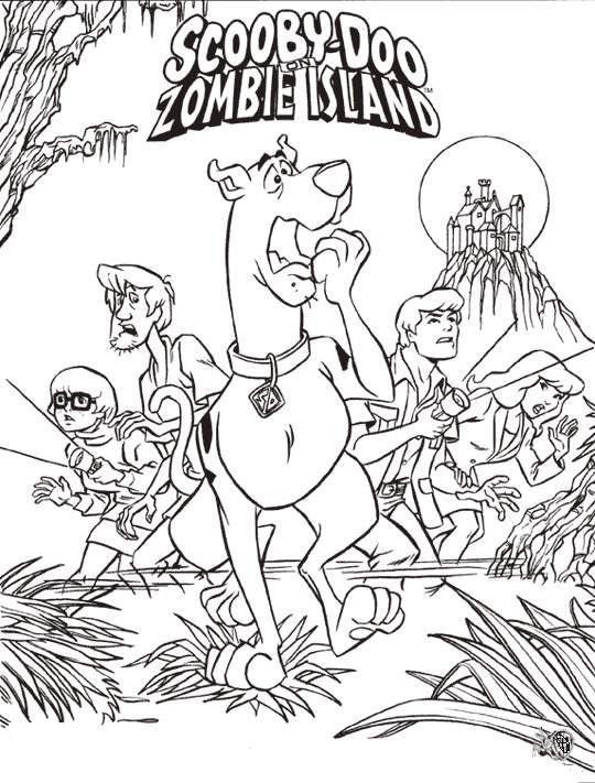 scooby doo on zombie island coloring pages - Scooby Doo Colouring Pictures To Print