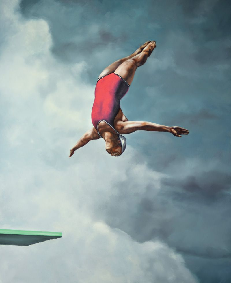 "Gallery Henoch - Eric Zener - Leap of Faith 2 - Oil on Canvas - 66"" x 54"" - Solo Show ""Escape"" September 8 - October 1, 2016"