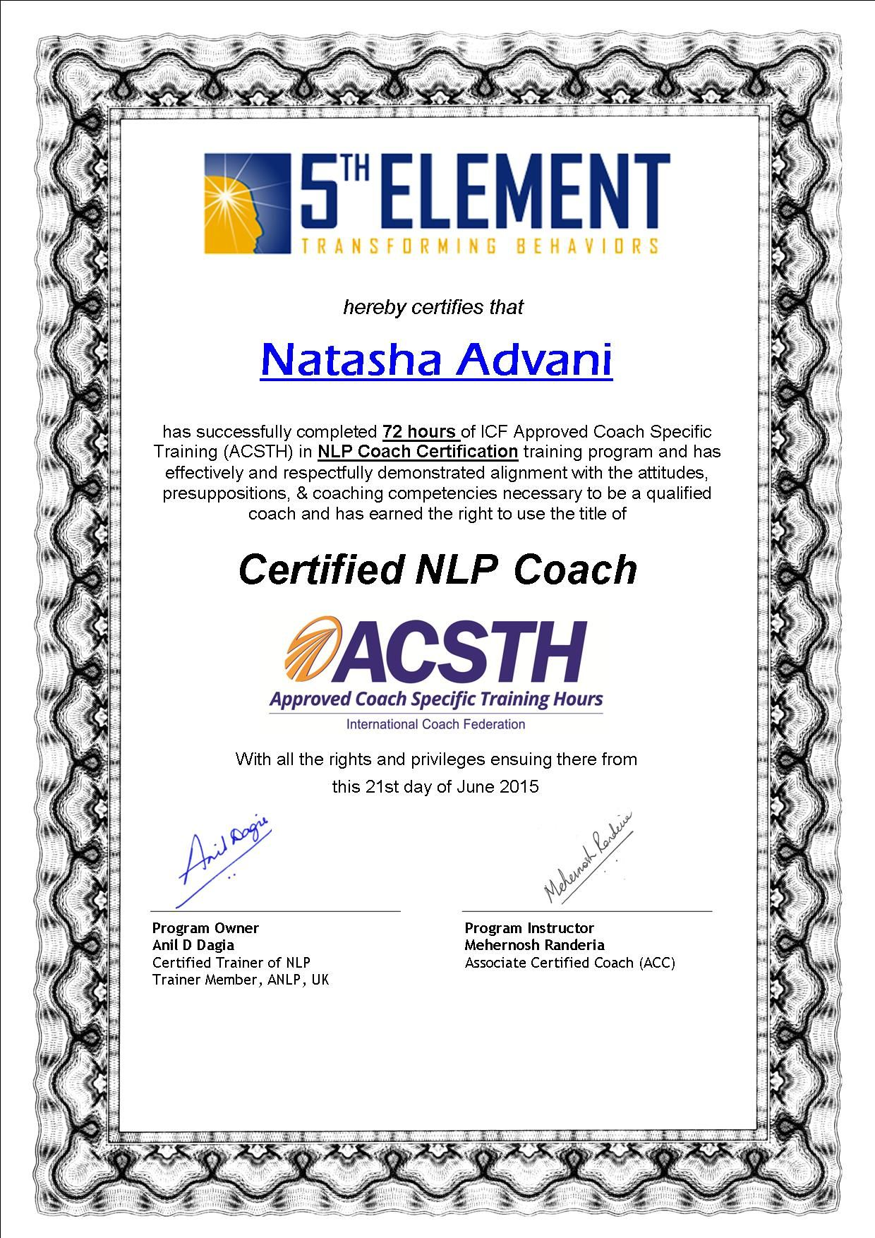 Congratulations natash advani trainer life coach in mumbai at congratulations natash advani trainer life coach in mumbai at being awarded the prestigious highly coveted icf coach certificate xflitez Images