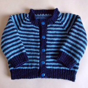 51892035104d Simple Striped Baby Cardigan