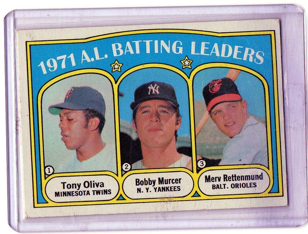 1972 Topps AL Batting Leaders Tony Oliva Bobby Murcer Merv