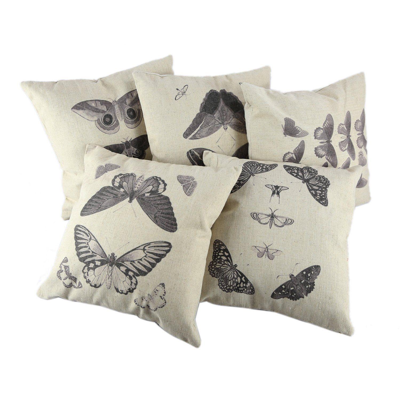 "Createforlife Decor Linen Square 5Pcs Pillowcase Set of 5 Black Butterflies Throw Pillow Sham Cushion Cover 18"" x 18"""