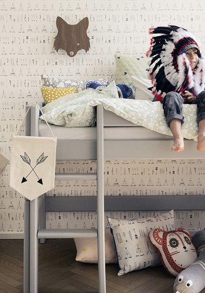 Kinder Tapete Mit Tipi Print, Kids Wallpaper Native Tipi, Boy Room  Decoration, Jungen