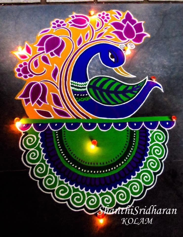 peacocksketch shanthisridharankolam kolamdesign