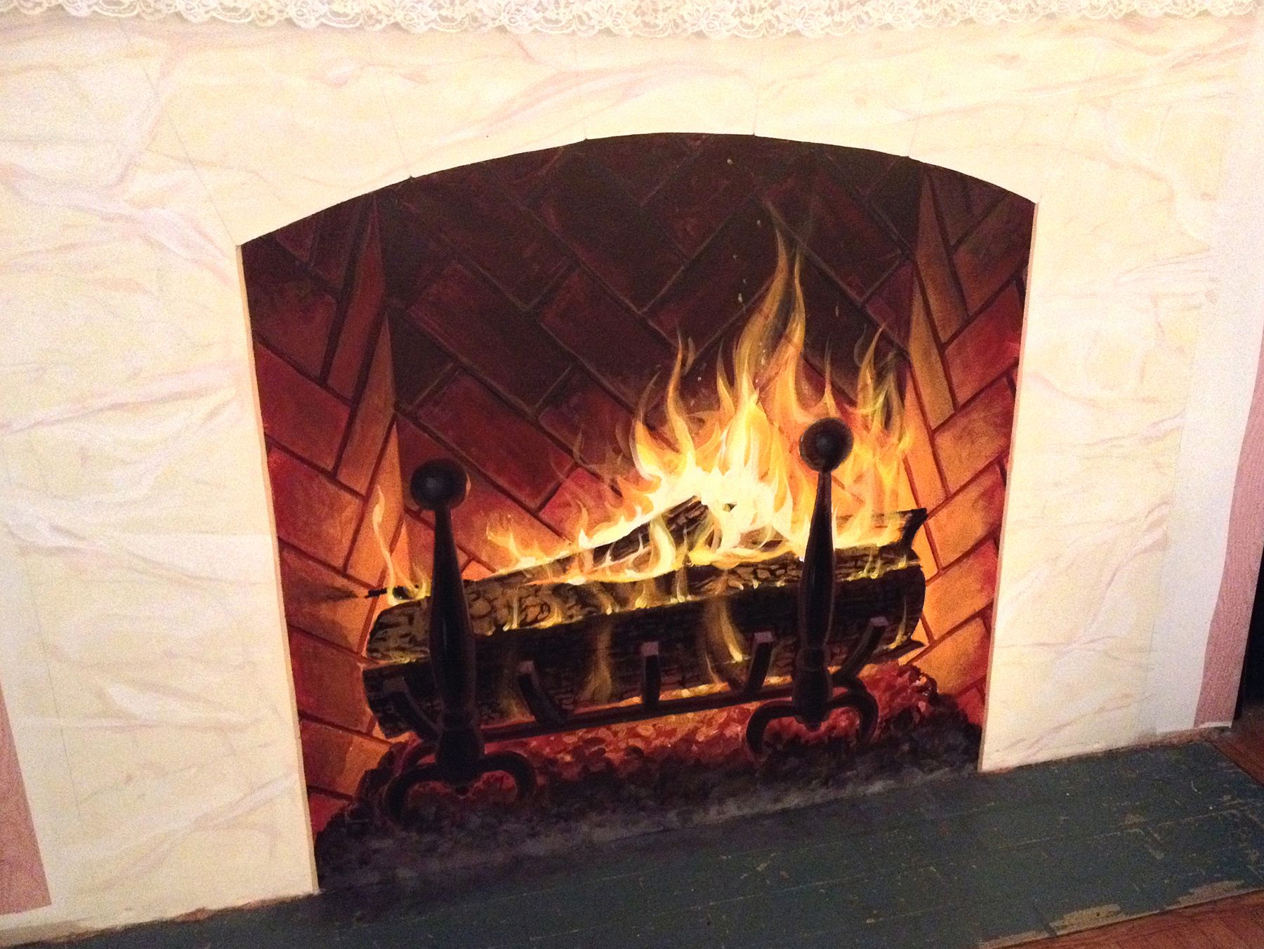 Trompe l\'oeil) Fireplace and mantle stone - Acrylic | my own random ...