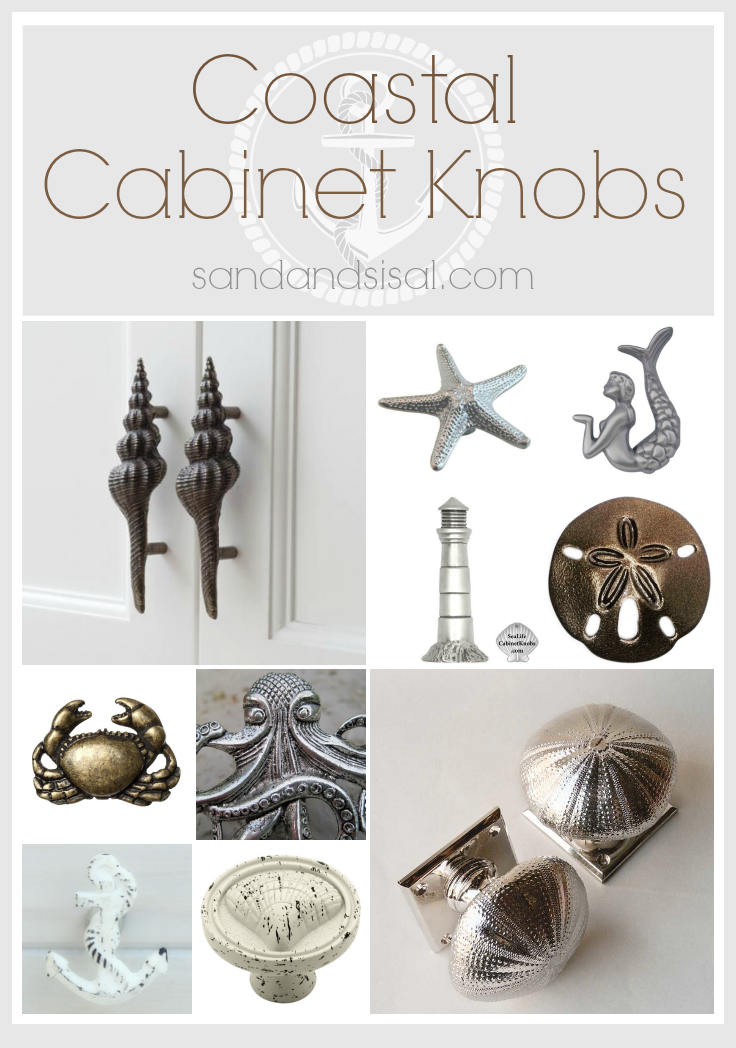 This creative selection of coastal cabinet knobs and pulls will dress up any beach cottage, seaside home, or coastal themed kitchen and bath.