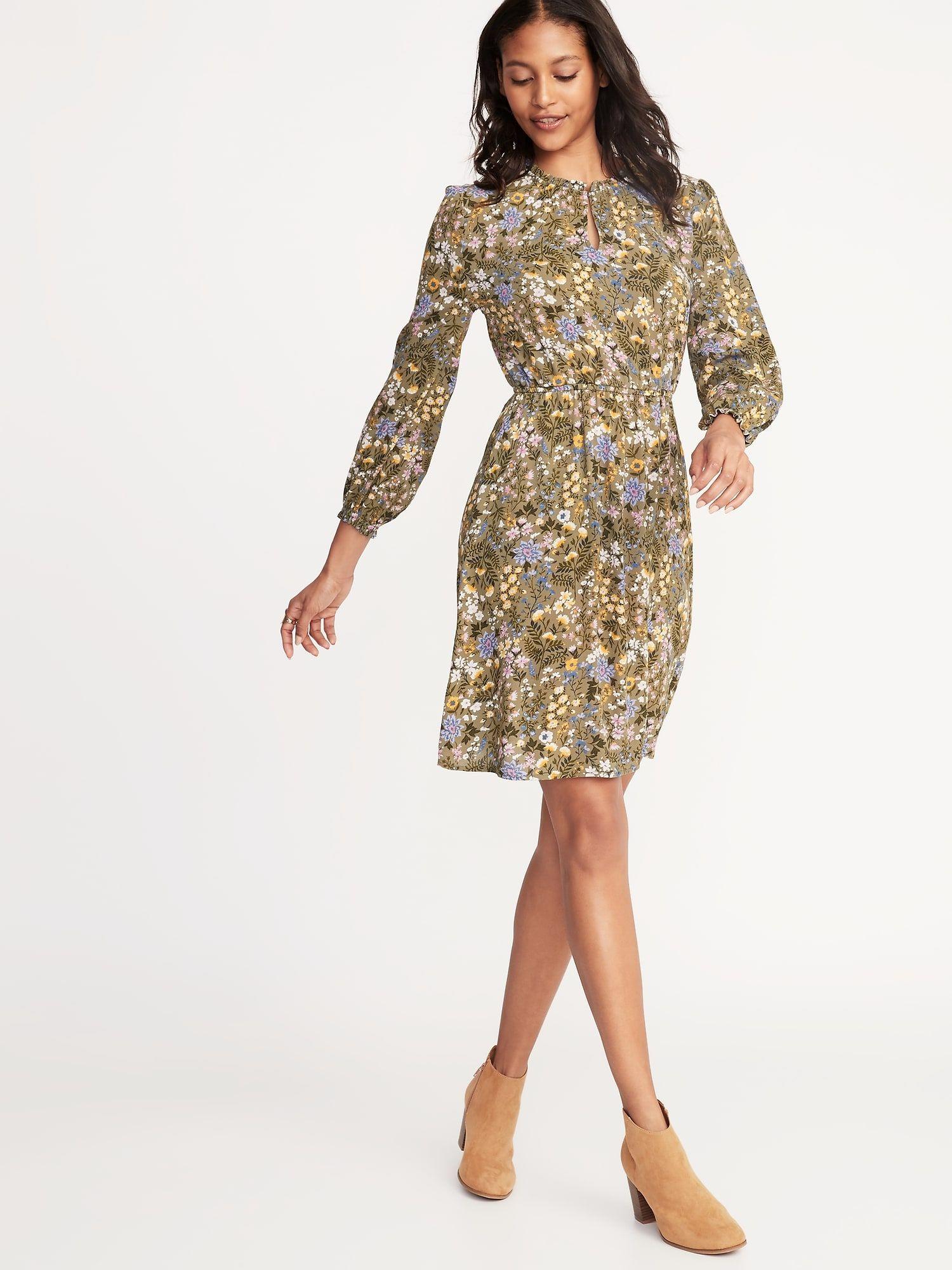 3c348a9537e Waist-Defined Ruffle-Trim Dress for Women | Old Navy | Stylin' in ...