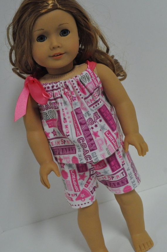 Cheerleader  Print Baby Doll Style Flannel  Pajamas PJ's made to fit American Girl Doll 18 inch Doll #18inchcheerleaderclothes Cheerleader Print Baby Doll Style Flannel Pajamas PJ's made to fit American Girl Doll 18 inch Doll Clothes #18inchcheerleaderclothes