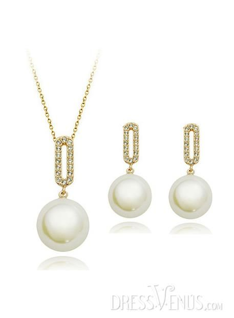 Fashion, Jewelry Sets , $27.99, New Fashion Elegant OL Style White Pearl Rose Golden Jewelry Set(Including Necklace&Earrings)