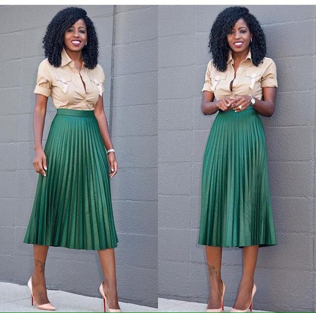 Military Style Shirt And Pleated Accordion Midi Sk