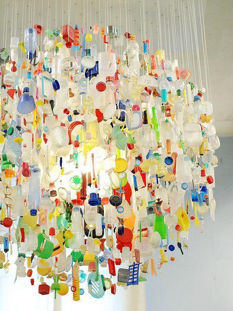 Cómo hacer #lámpara con trozos de #botellas #pet #plástico #HOWTO