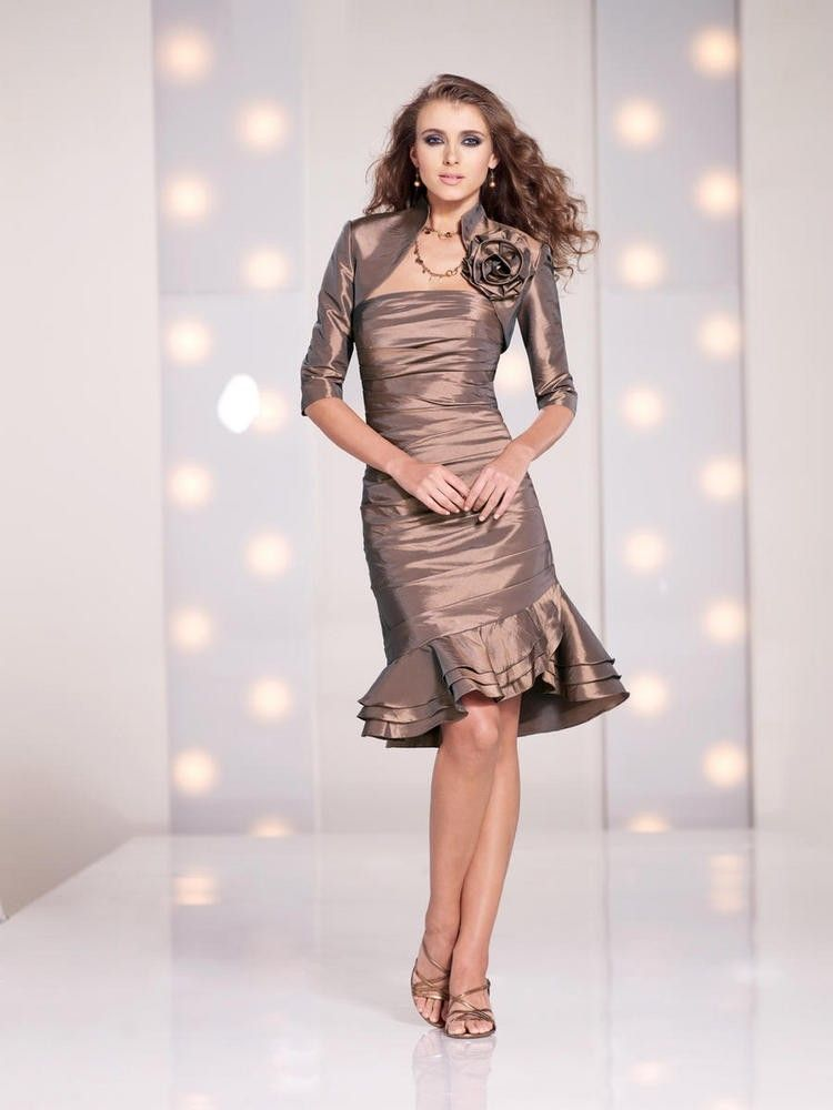 Fashion Strapless Knee Length Taffeta Sheath Column Mother Of The Bride Dress With Jacket