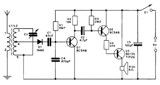 circuito b u00e1sico de r u00e1dio receptor am