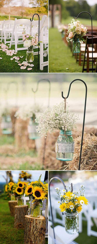 Mason jar crafts wedding - Rustic Outdoor Wedding Aisle Decorations With Mason Jars And Flowers