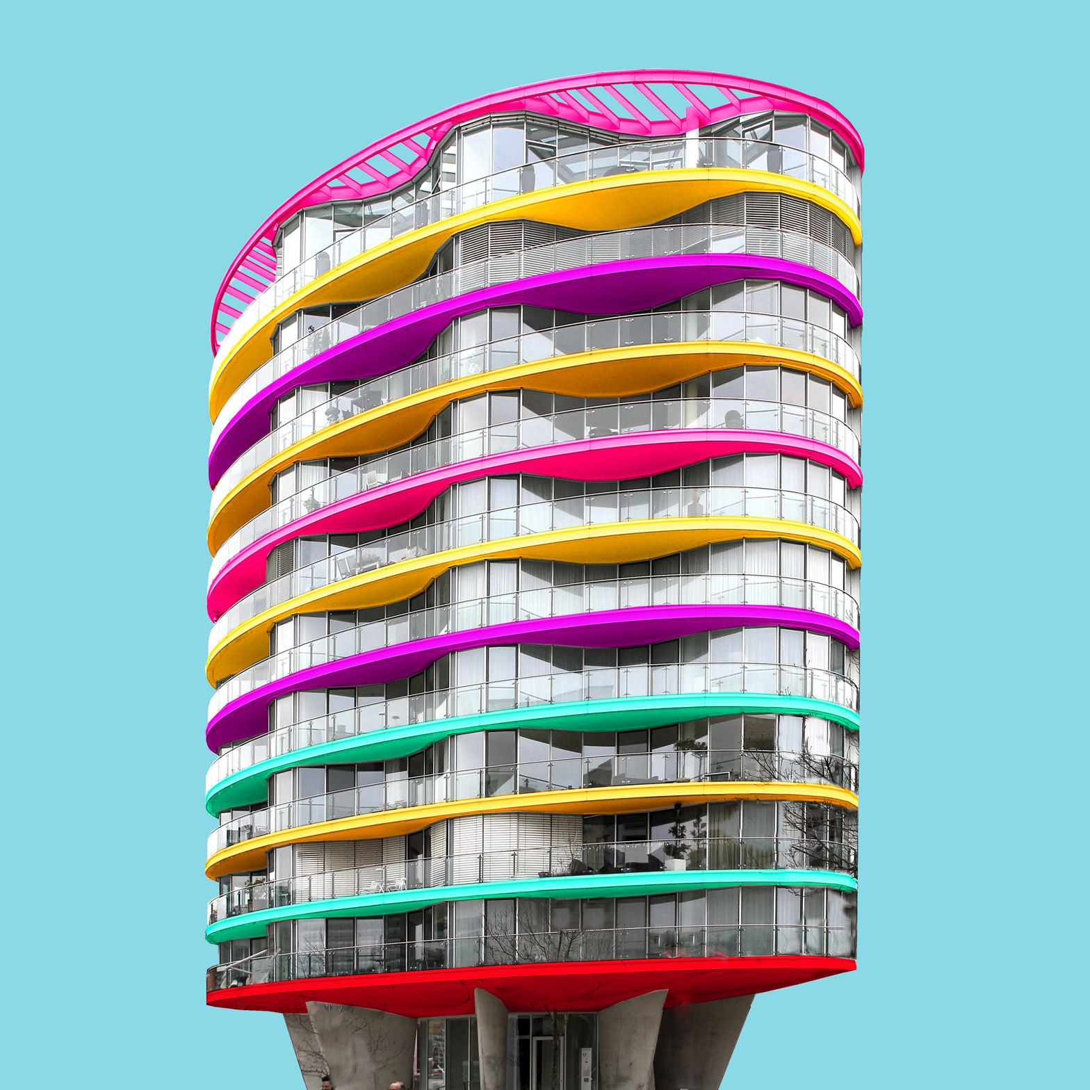 Modern Architecture Berlin paul eis gives colourful makeover to german city architecture