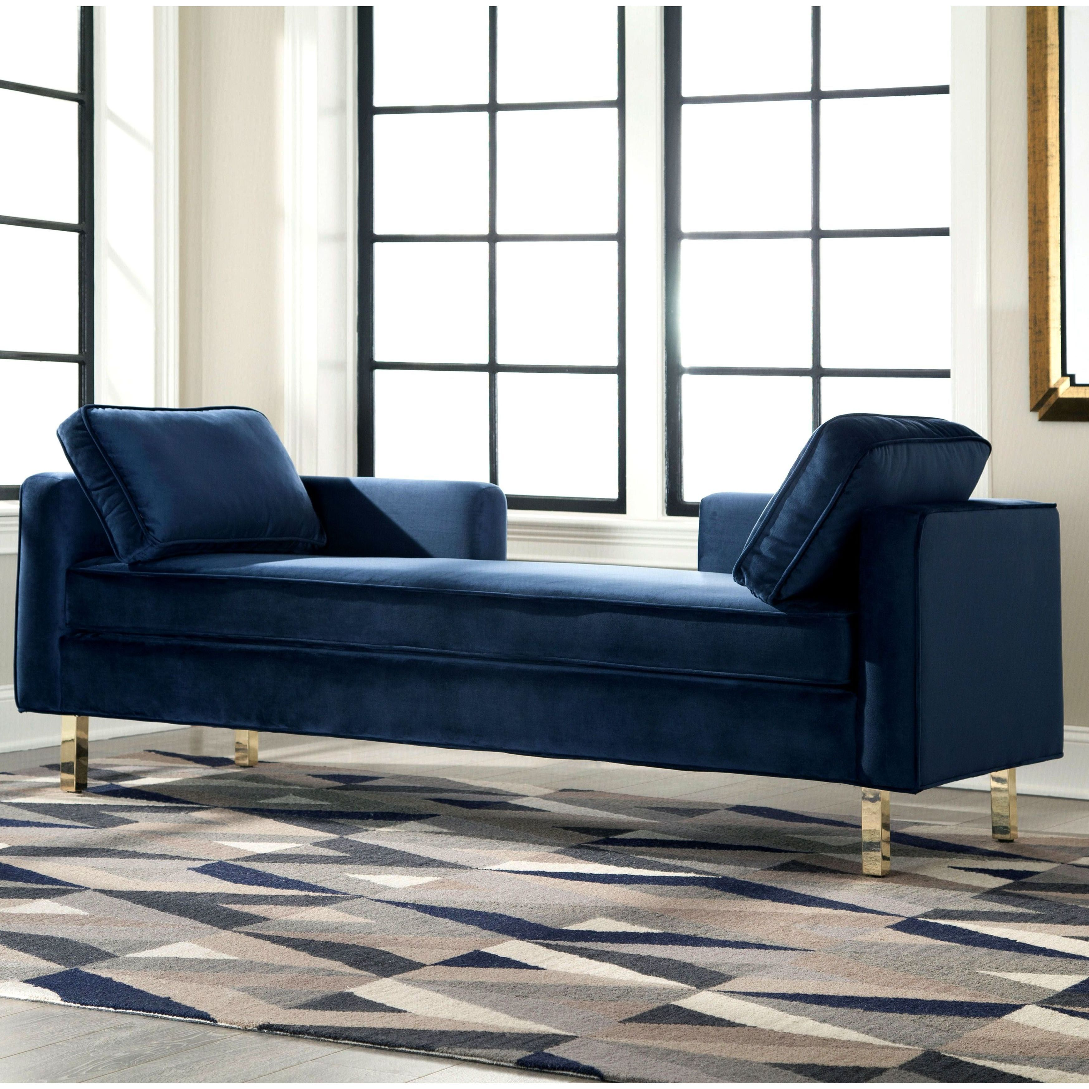 Donny Osmond Home Accent Seating Modern Double Chaise With Navy Fabric Coaster Fine Furniture