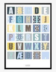 Super sød plakat til drengeværelset. Den er både dekrorativ og så kan knækpølsen lære alfabetet – vind vind:-)
