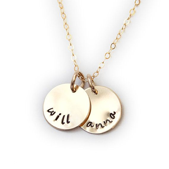 Personalized 14K Gold Filled Name Necklace with Two Discs Gold
