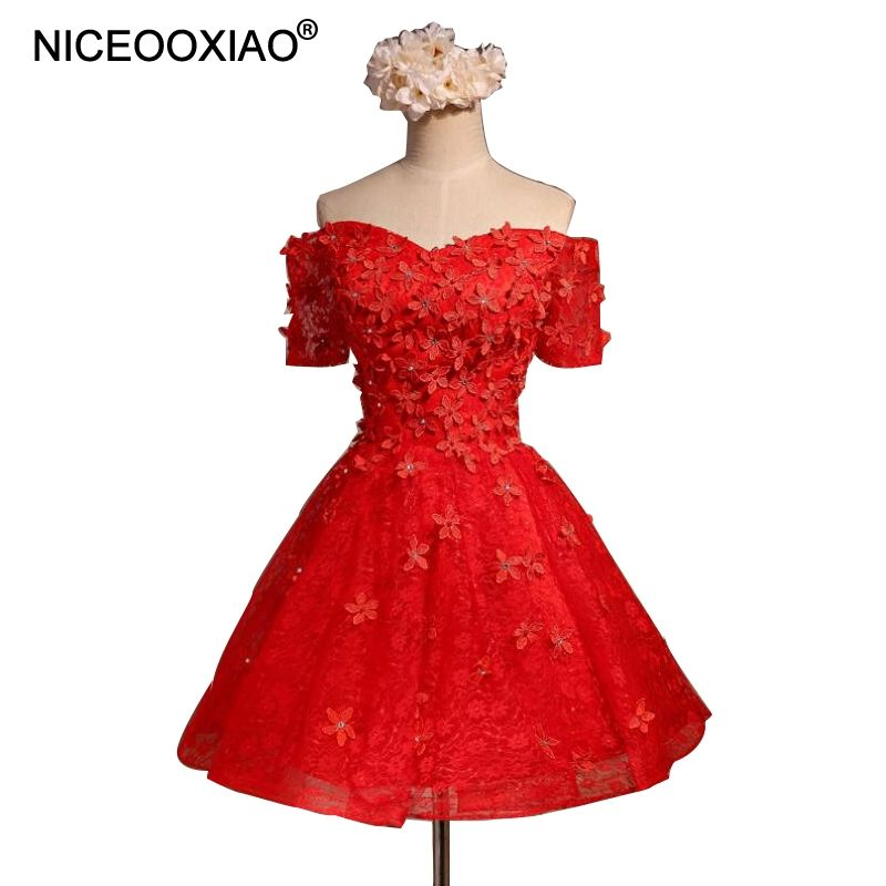 NICEOOXIAO Red Short Evening Dresses Elegant Party Ball Gown V-neck Beaded  Flowers Off- a7d2acab658e