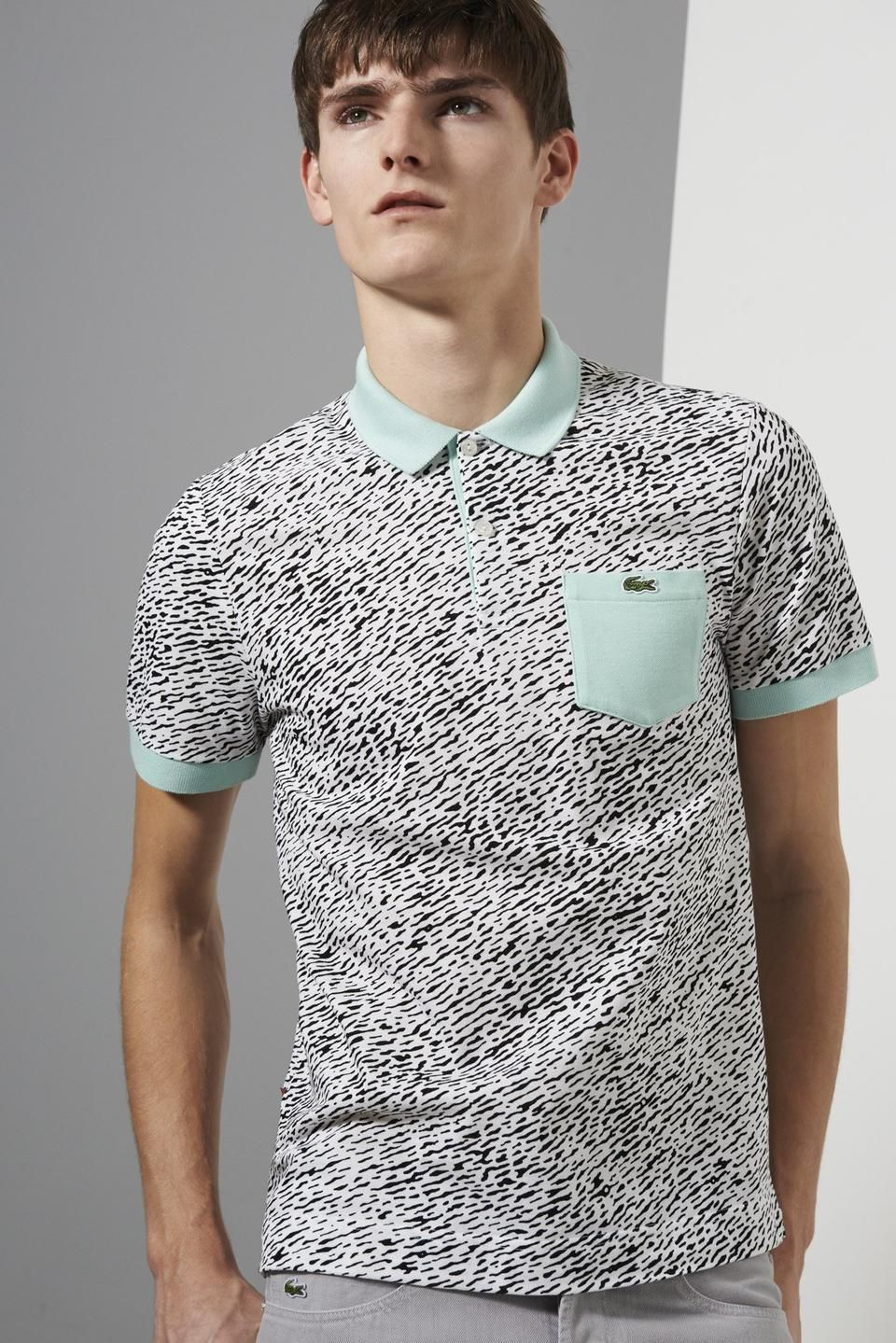 Lacoste live short sleeve mini pique all over camouflage for Short sleeve lacoste shirt