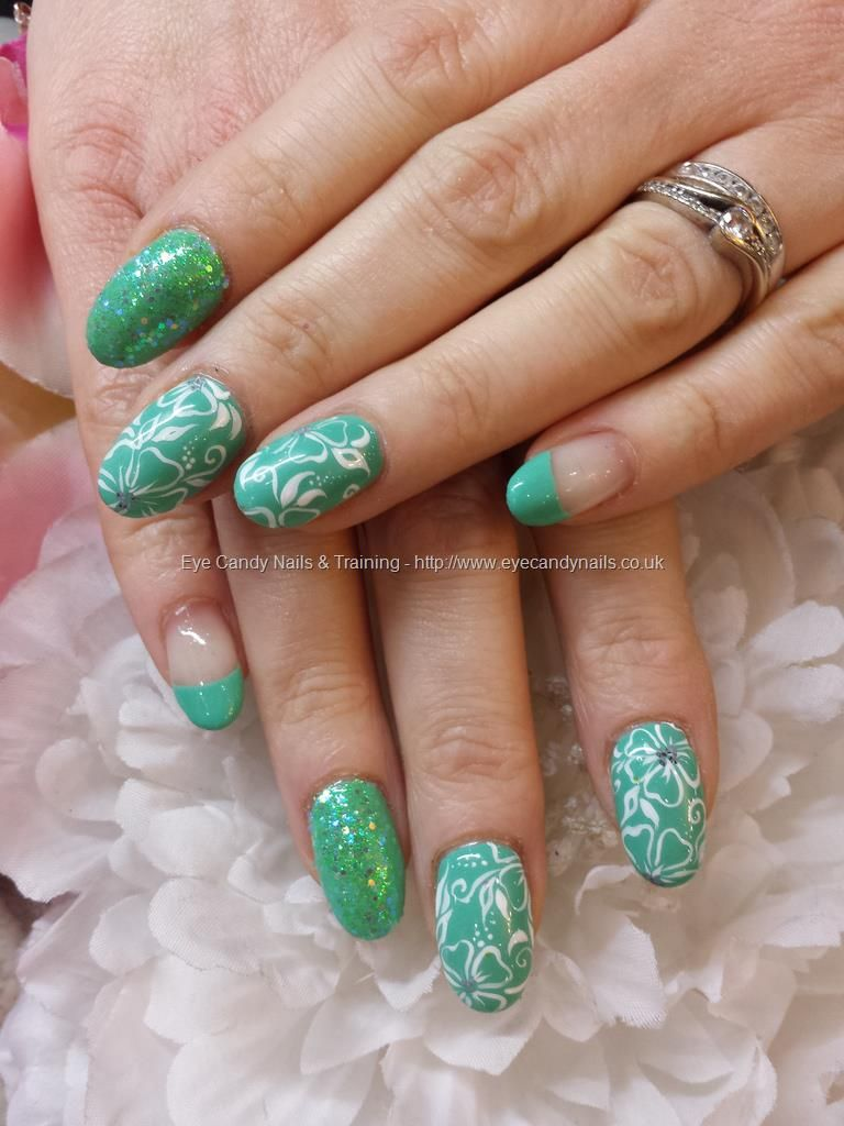 Mint of spring gelish gel polish with white freehand nail art and