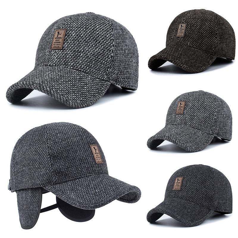 bb7aa89362452 Men Woolen Hat Snapback Autumn Winter Thicken Warm Baseball Cap Casquette  Casual Male Outdoor Cycling Ski Hats Gorro Bonnet
