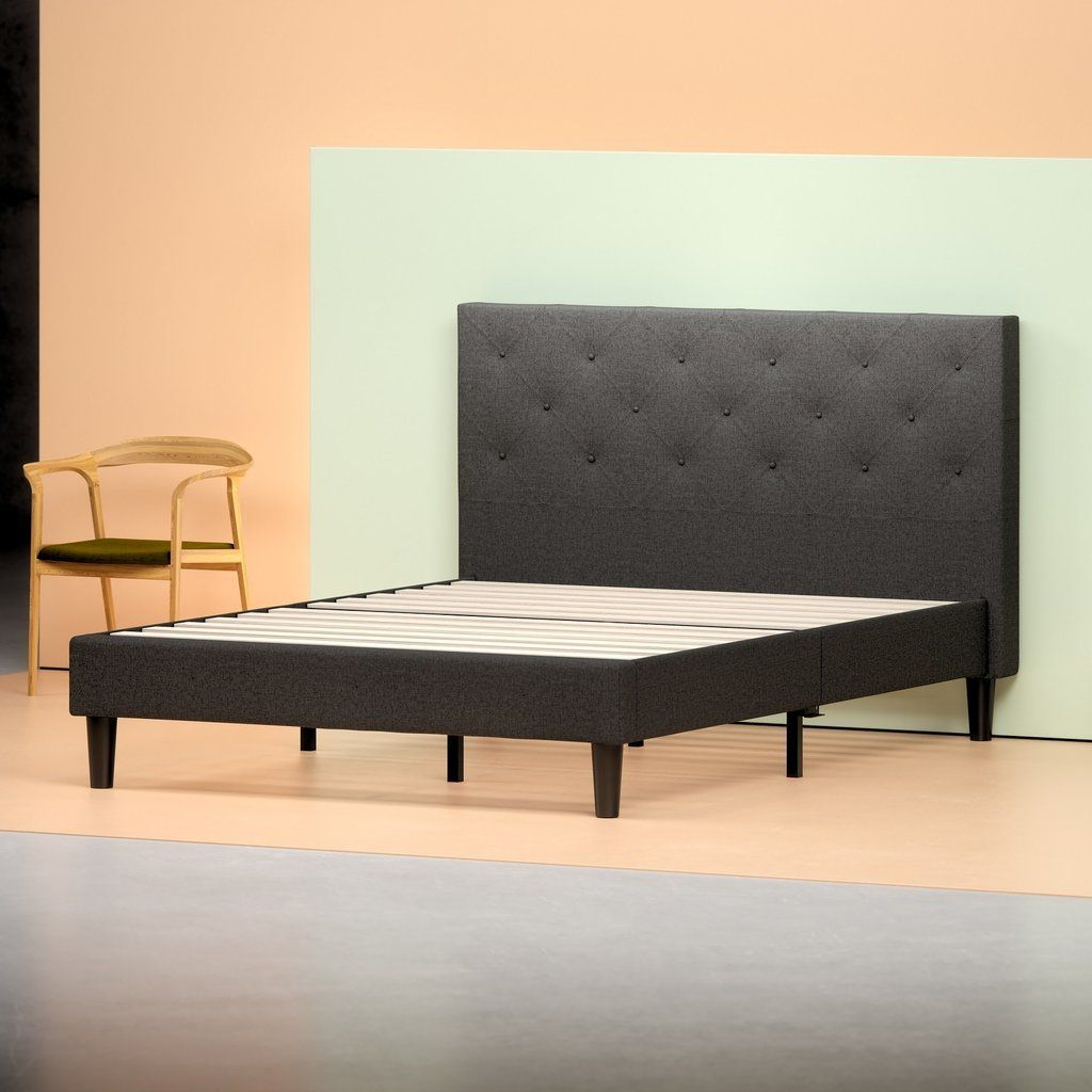 Zinus Upholstered Diamond Stitched Platform Bed Frame In Dark