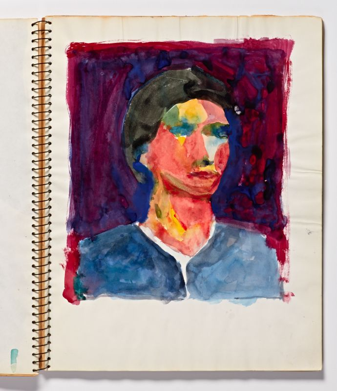 Diebenkorn, Watercolor, Page 131 from Sketchbook # 23 [female head and bust]