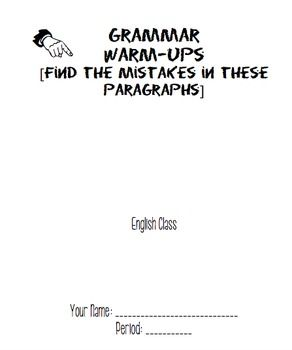 Grammar Warm Up Packet [using modern, young adult novels