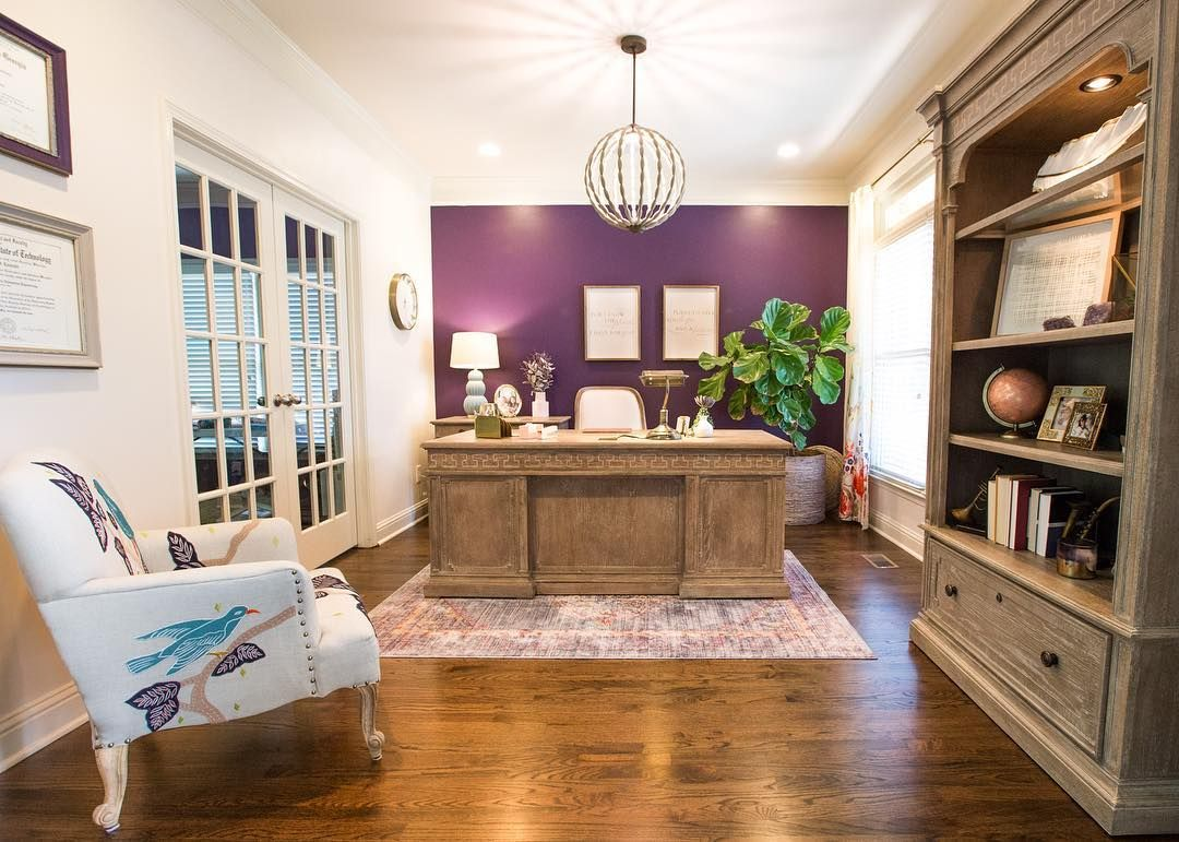 home office with purple accent wall love how the color on office accent wall color id=25355