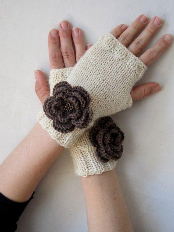 merino arm warmers cream mittens brown crocheted by CozyKnittings, $32.00