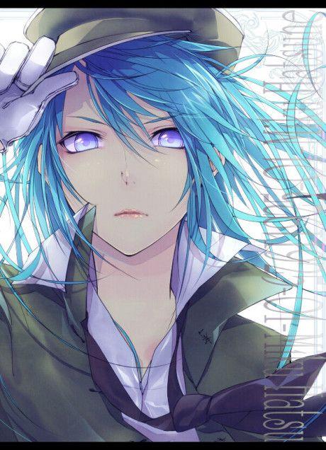 blue Anime hair with tumblr boy