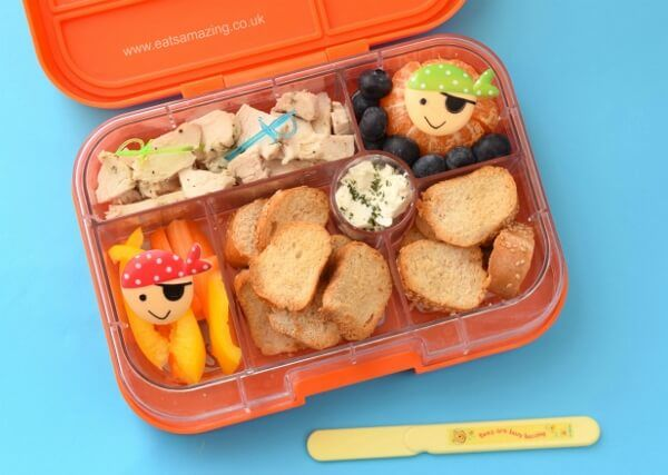 A week of fun pirate themed lunches for kids - healthy and easy packed lunch ideas from Eats Amazing UK - pirate bento lunch in the Yumbox Classic