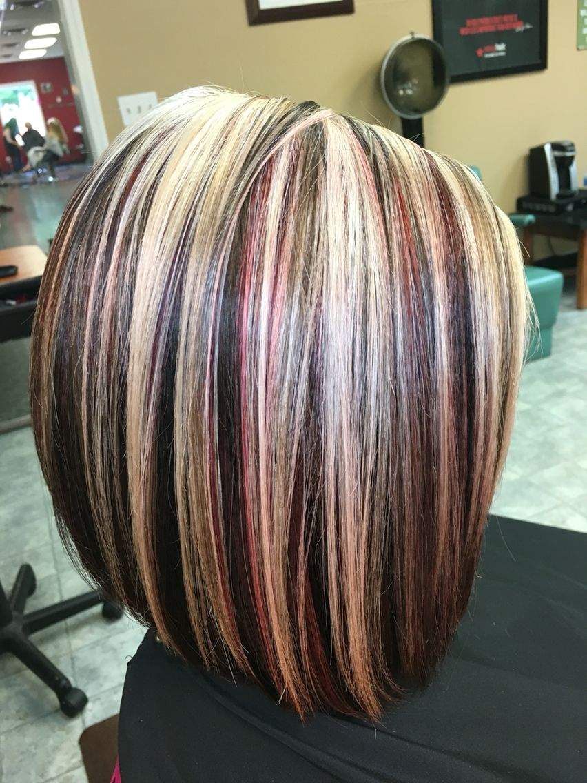 Highlights Blonde Red And Brown Hair By Victoria Sylvis Hair Styles Hair Color Highlights Hair Highlights