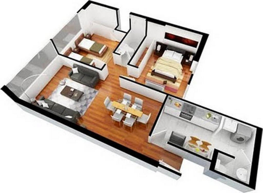 Delicieux Plan Floorplan Plano 3d Interior Design Contemporary Apartment Flat 3