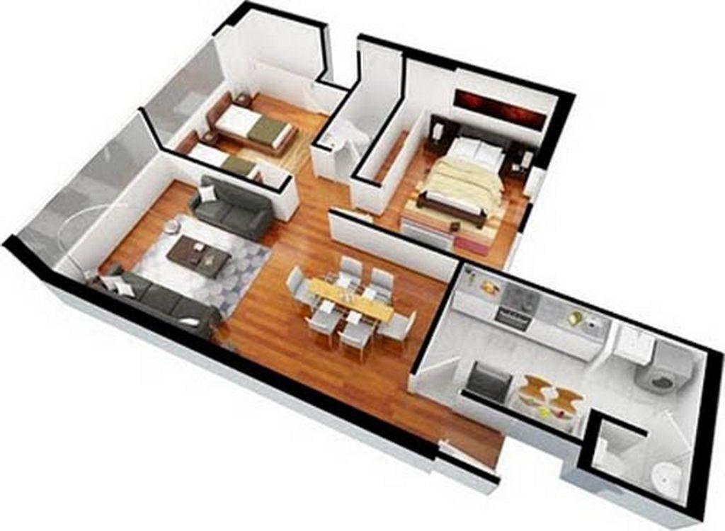 Plan Floorplan Plano 3d Interior Design Contemporary Apartment Flat 3