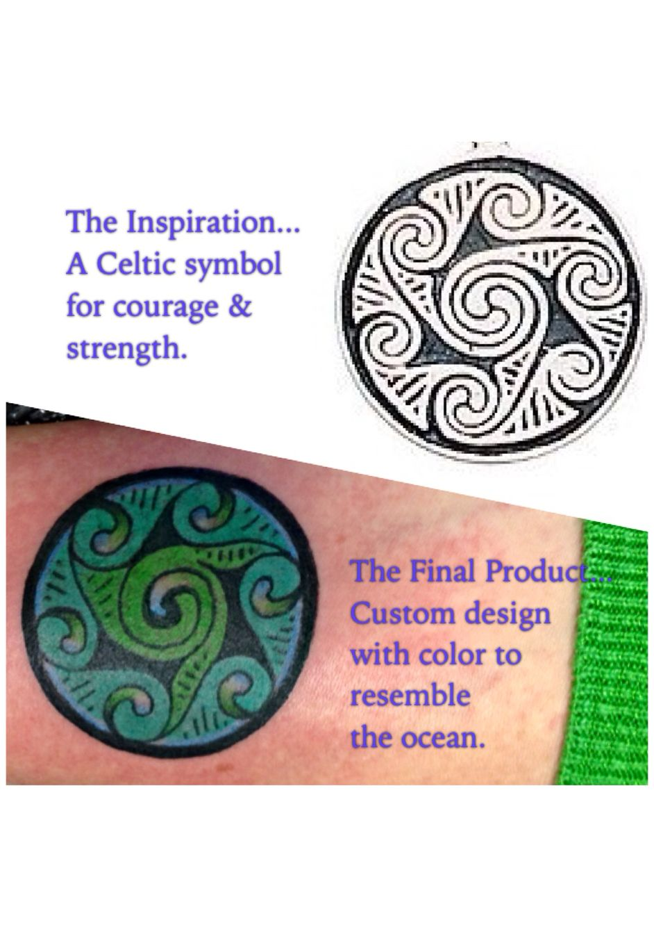 First tattoo done custom tattoo inspired by celtic symbols for inspired by celtic symbols for strength and courage biocorpaavc Gallery