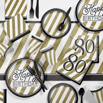 Creative Converting Black and Gold Birthday Party Supplies Kit #50thbirthdaypartydecorations