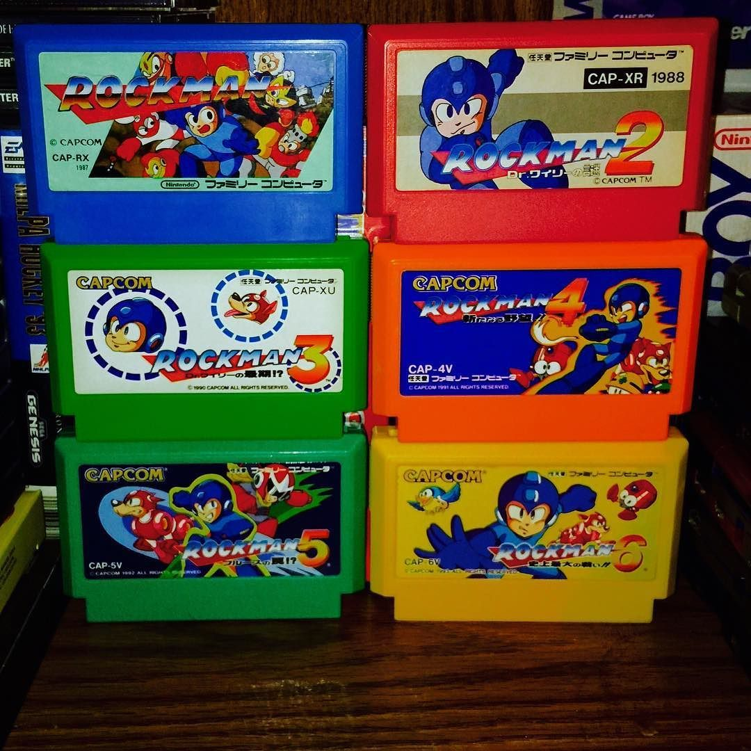 Amazing one by anthonyplep #famicom #microhobbit (o) http://ift.tt/1UUT71r 1 2 3 4 5 and 6.  Very happy to finally own these  After picking up the Legacy Collection I got a chance to finally try the Mega Man games I never tried before.  I had such a fun time with them that I needed to own more than just the disc so I bought the complete set on Famicom  Not only is a complete Japanese set cheaper than an American set but I'm a big fan of the cartridge labels and colors compared to the NES…