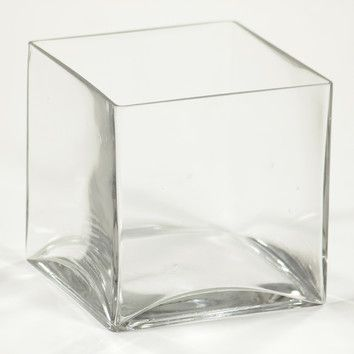 """Features:  -Square clear vase.  -Material: Glass.  Product Type: -Table vase.  Shape: -Square/Rectangle.  Color: -Clear.  Primary Material: -Glass. Dimensions: Size 8"""" H x 8"""" W x 8"""" D -  Overall Width"""